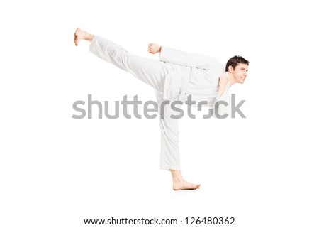 A karate man exercising isolated against white background #126480362
