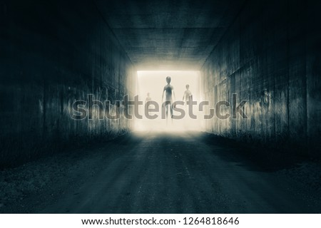 A group of aliens emerging from the light at the end of a dark sinister tunnel. With a high contrast edit. Royalty-Free Stock Photo #1264818646