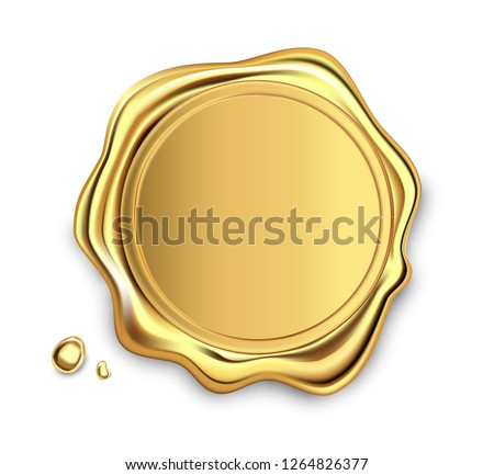 Gold stamp wax seal approval vector sealing retro label set. Quality garantee label. Elite. #1264826377