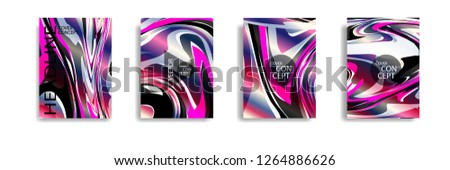 The abstract texture of brightly colored liquid paint. vector cover book with marble color on eps 10 #1264886626