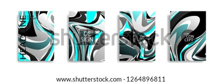 The abstract texture of brightly colored liquid paint. vector cover book with marble color on eps 10 #1264896811