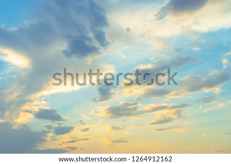 Copy space summer blue sky and white cloud with light flare from sun abstract background. #1264912162