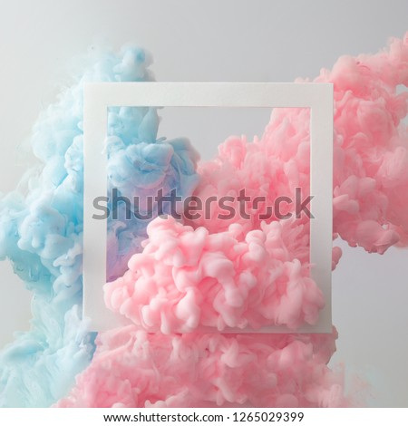 Abstract pastel pink and blue color paint with pastel gray background. Fluid composition with copy space. Minimal natural luxury. #1265029399