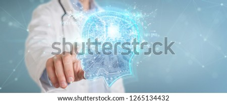 Doctor on blurred background creating artificial intelligence interface 3D rendering #1265134432