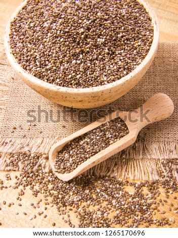 Chia seeds - a dietary supplement containing a large amount of fiber, omega-3 fatty acids and unsaturated fats. #1265170696