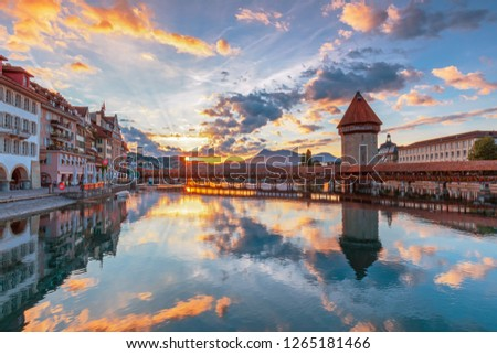 Beautiful historic city center view of Lucerne with famous Chapel Bridge and lake Lucerne (Vierwaldstattersee), Canton of Lucerne, Switzerland #1265181466