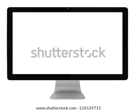 Computer monitor isolated on white, clipping path Royalty-Free Stock Photo #126529715