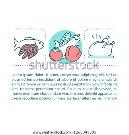 Cooking concept linear illustration. Food preparation. Article, brochure, magazine page layout with text boxes. Healthy nutrition. Holiday dinnner. Print design. Vector isolated outline drawing #1265343385