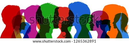 Group young people. Profile silhouette faces girls and boys – vector Royalty-Free Stock Photo #1265362891