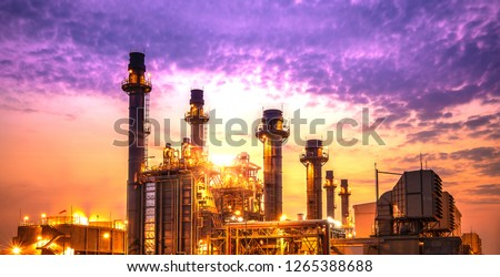 Petrochemical industrial plant power station at sunset and Twilight sky view,Amata City Industrial Thailand #1265388688