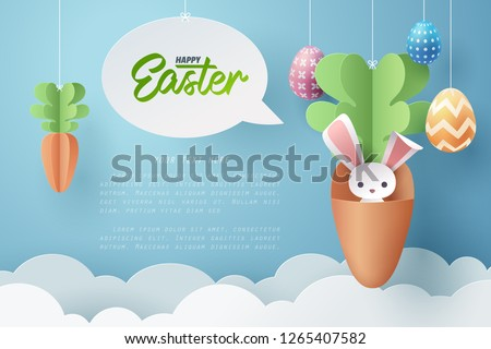 Paper art of Bunny in carrot and Easter eggs, Happy Easter celebration concept, vector art and illustration. #1265407582