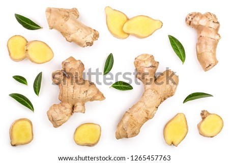 fresh Ginger root and slice isolated on white background. Top view. Flat lay #1265457763