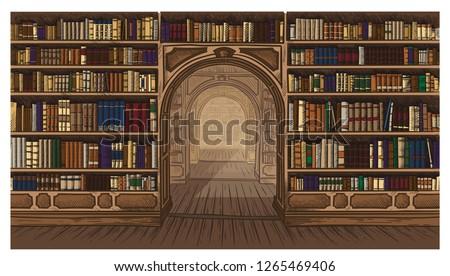 Library book shelf interior graphic sketch colorfull illustration vector illustration