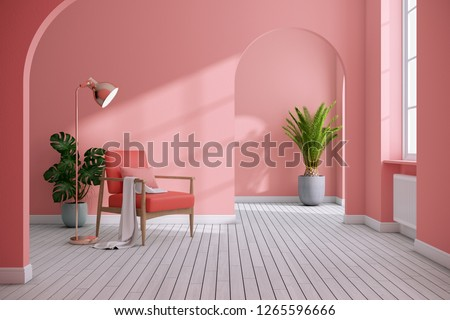 Modern mid century and minimalist interior of living room ,Living coral decor concept,vintage pink armchair with coral wall on white floor ,3d render