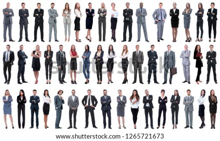 collage of a variety of business people standing in a row #1265721673