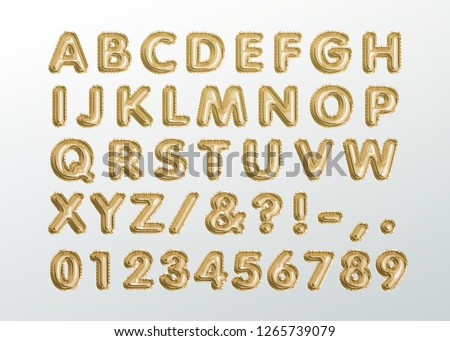Metallic Gold ABC Balloons, golden letter alphabet. Gold type Balloons for Text, Letter, new year, holiday, birthday, celebration.