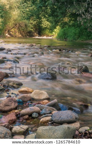 Armenia. River Marts flows through the forest in canyon. Beautiful landscape photography with long exposure #1265784610