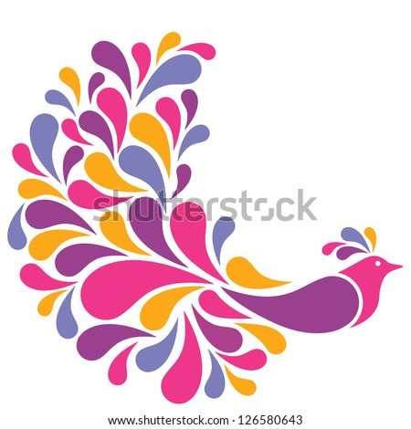 Colorful Bird illustration. Image fits in a circle.