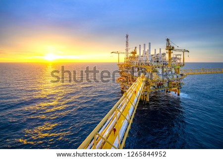 Offshore oil and gas rig platform with beautiful sky in the gulf of Thailand. #1265844952