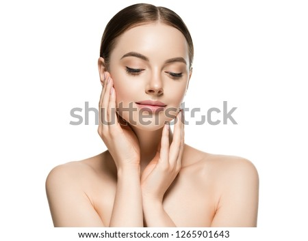 Skin care woman face with healthy beauty skin face closeup cosmetic age concept #1265901643