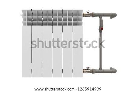 Closeup of the components of a wall-mounted metal heater, radiator, 3d illustration #1265914999