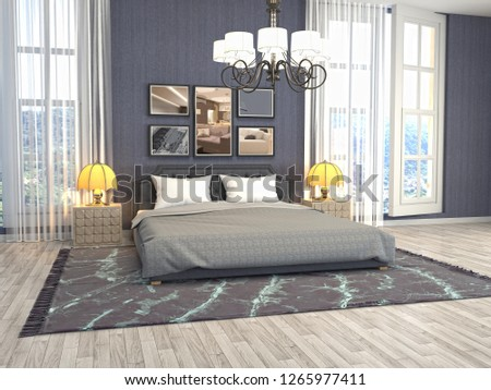 Bedroom interior. 3d illustration #1265977411