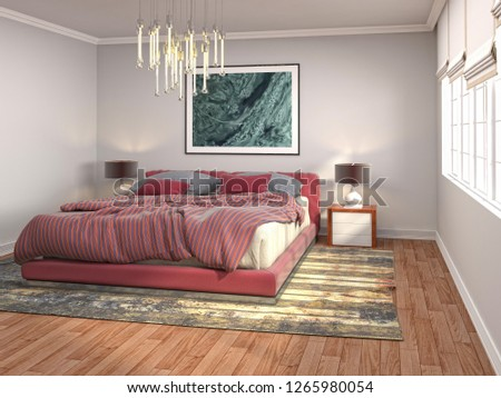 Bedroom interior. 3d illustration #1265980054