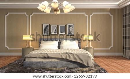 Bedroom interior. 3d illustration #1265982199