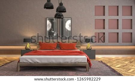 Bedroom interior. 3d illustration #1265982229