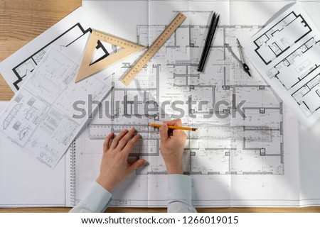 High angle above top view flat lay cropped busy lady in her formalwear shirt she sit at the desk in bright loft interior create new corporate project #1266019015