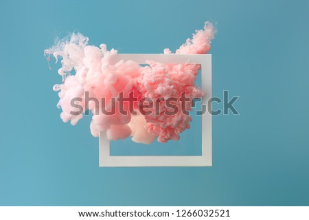 Abstract pastel pink color paint with pastel blue background. Fluid composition with copy space. Minimal natural luxury. #1266032521