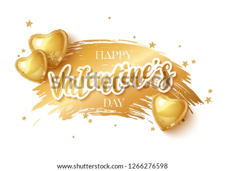 Happy Saint Valentines day greeting card with 3d gold balloon hearts on white background. Vector illustration #1266276598