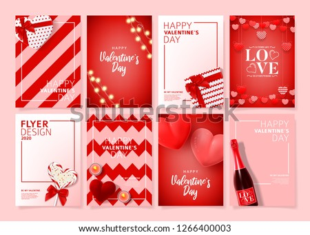 Set of Happy Valentine's Day posters. Vector illustration with realistic Valentine's Day attributes and symbols. Brochures design for promo flyers or covers in A4 format size. #1266400003
