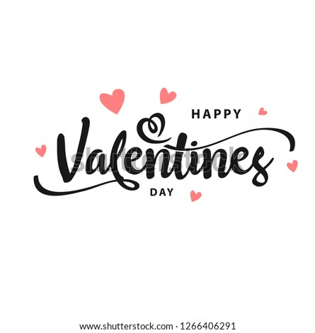 Happy Valentines Day typography poster with handwritten calligraphy text, isolated on white background. Vector Illustration - Vector Royalty-Free Stock Photo #1266406291