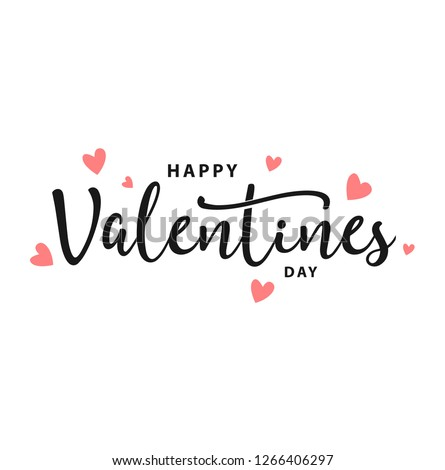 Happy Valentines Day typography poster with handwritten calligraphy text, isolated on white background. Vector Illustration - Vector Royalty-Free Stock Photo #1266406297