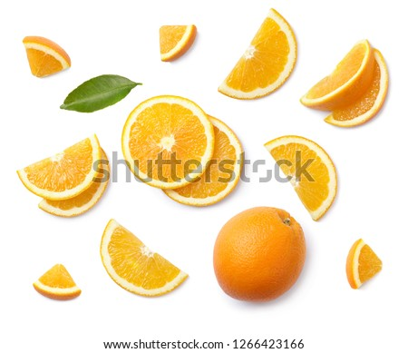 A set of slised orange isolated on white background. Top view. #1266423166