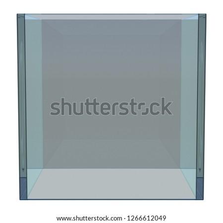 Empty Glass Showcase. 3d illustration on white background #1266612049