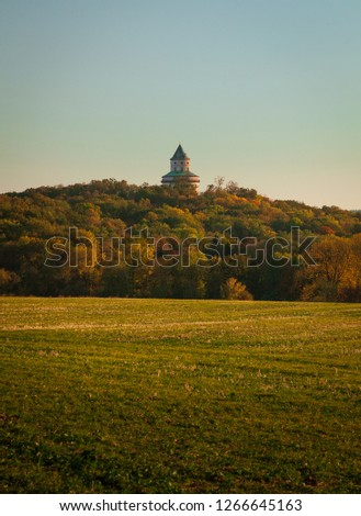 Humprecht Castle in Czech Republic among the beautiful autumn landscape #1266645163