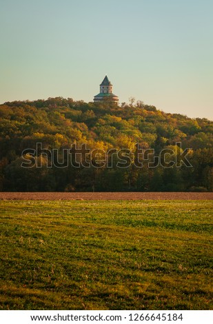 Humprecht Castle in Czech Republic among the beautiful autumn landscape #1266645184