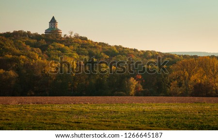 Humprecht Castle in Czech Republic among the beautiful autumn landscape #1266645187