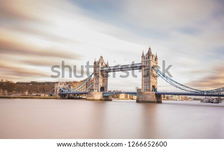 Long exposure, London Tower Bridge across the River Thames - Stock image