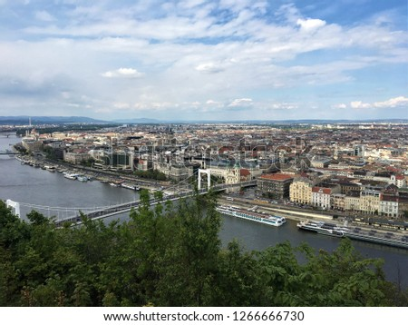the view of Budapest; nature,buildings,lake,bridge and historical places #1266666730