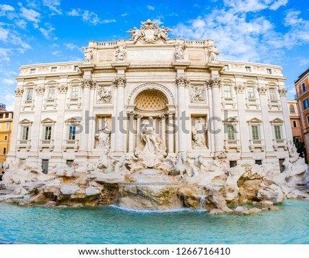 Rome, Italy: Trevi fountain by Nicola Salvi and Giuseppe Pannini, with many Bernini touches, built from 1732 to 1762 on Poli palace with Oceanus, triton statues. #1266716410