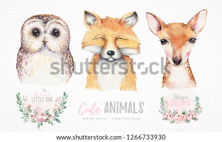 Watercolor set of forest cartoon isolated cute baby fox, deer and owl animal with flowers. Nursery woodland illustration. Bohemian boho drawing for nursery poster, patterns