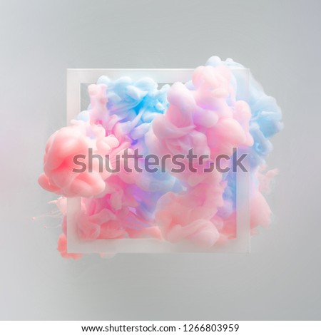 Abstract pastel pink and blue color paint with pastel gray background. Fluid composition with copy space. Minimal natural luxury. #1266803959