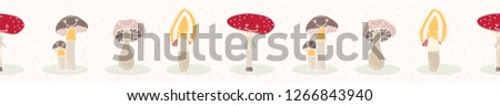 Cartoon mushroom collection with happy smiling face. Cute hand drawn seamless vector border. Banner Illustration of childish fungi and toadstool for kids #1266843940