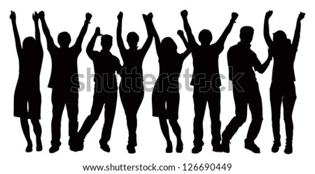 Large group of people celebrating. Vector image