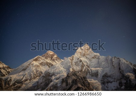 Everest and Nuptse at the night under the starry sky. Shooted from Kala Patthar peak. #1266986650