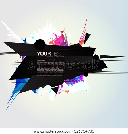 Abstract colorful sharp explosion design text box vector background