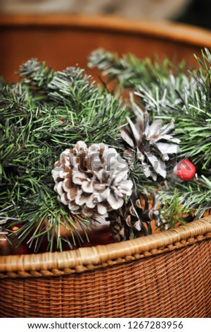 decorative spruce branch with cones and other decorations #1267283956
